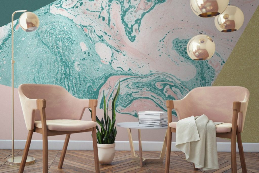 Marble-and-Glitter-wallpaper-design-my-murals-wallpaper-with-copper-pendants